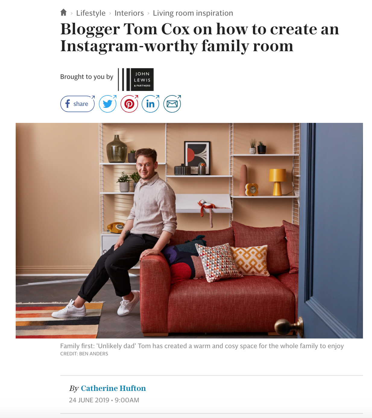 Blogger Tom Cox on how to create an Instagram-worthy family room