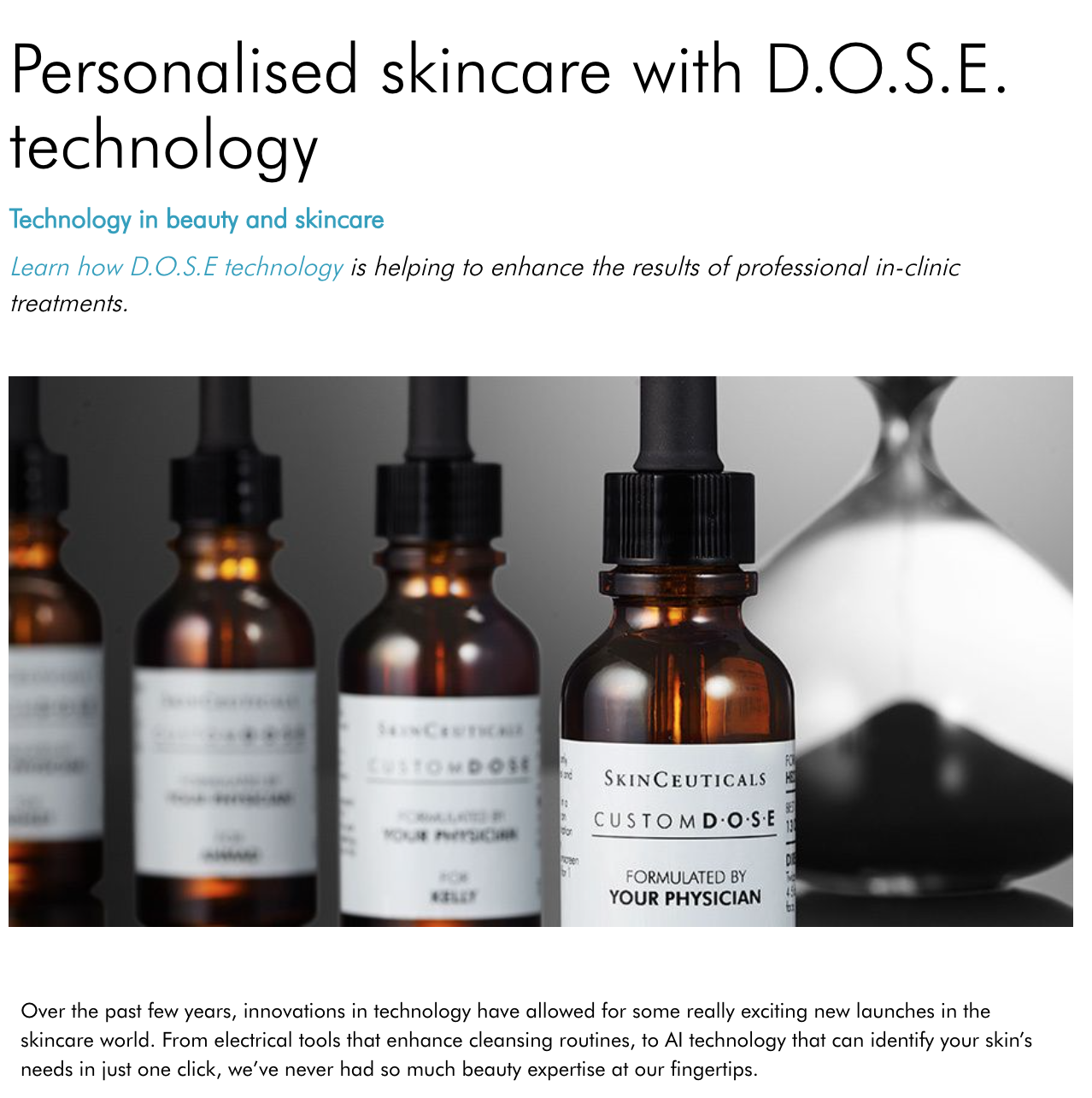 Personalised skincare with D.O.S.E technology: SKINCEUTICALS
