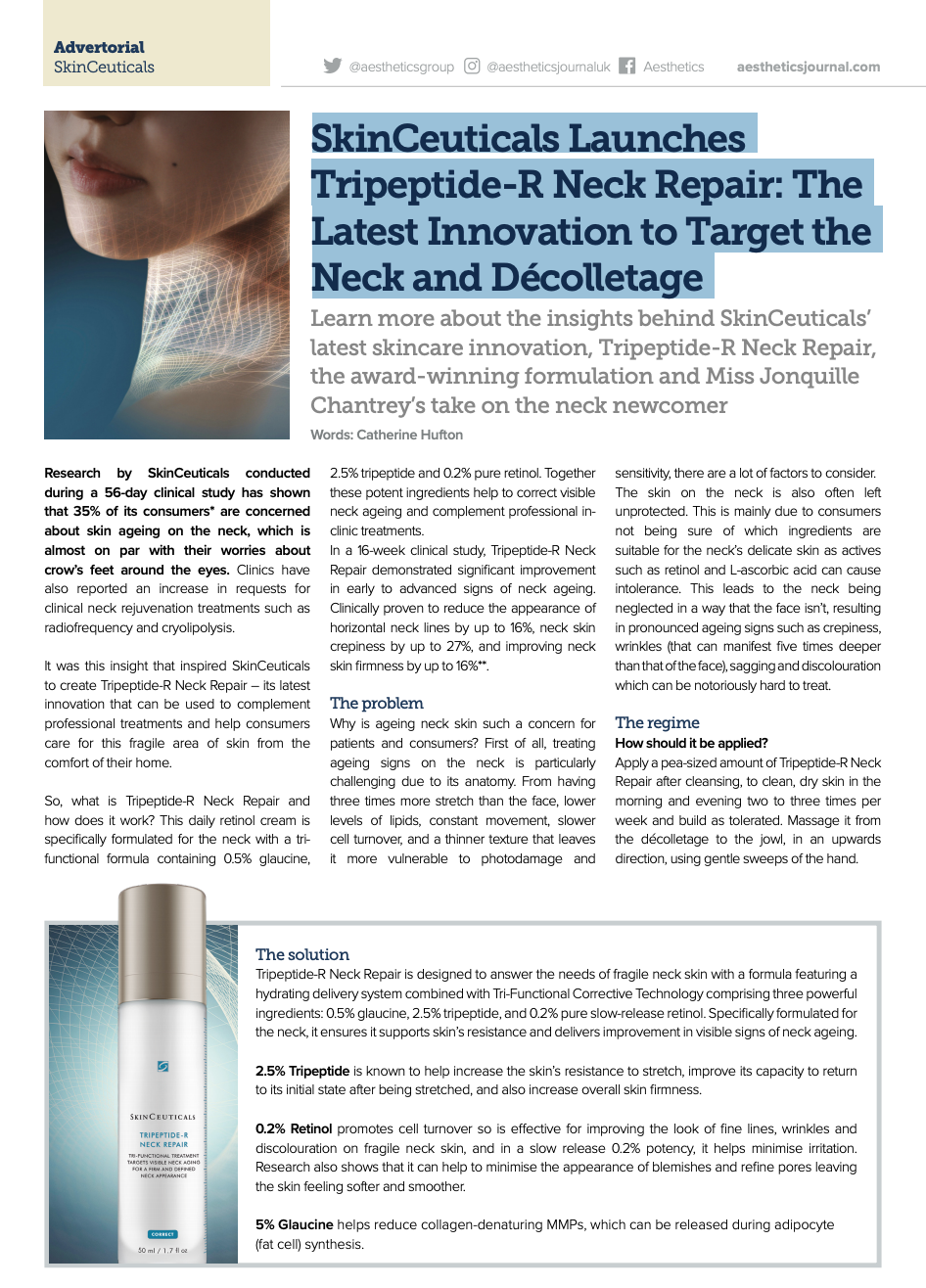 SkinCeuticals Launches Tripeptide-R Neck Repair: The Latest Innovation to Target the Neck and Décolletage, Aesthetics Journal