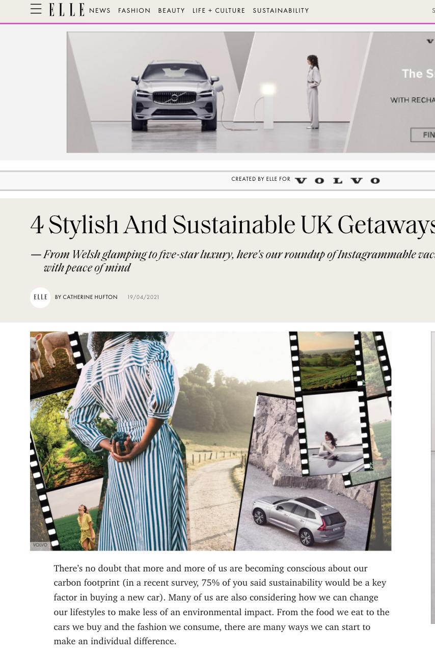 4 Stylish & Sustainable UK Getaways (ELLE)